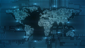 blockchain_bitcoin_circuitry_global, Weltkarte digital